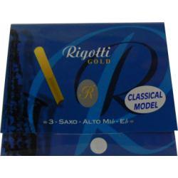 Caña Saxo Alto Rigotti oro clásico fuerza 4 x3