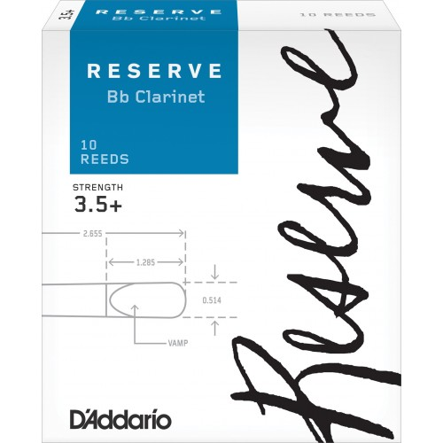 Box of 10 reeds Rico Reserve Clarinet Bb/Bb strength 3.5+