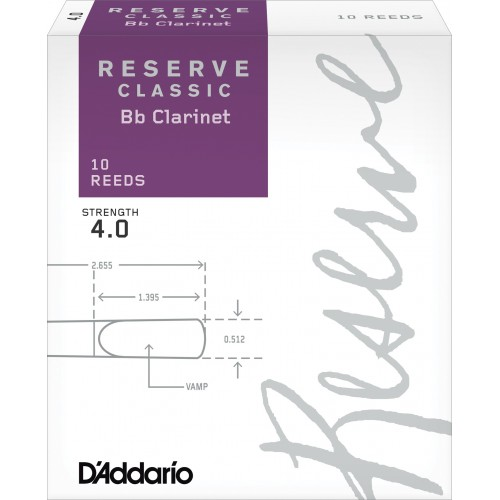 Box of 10 reeds Rico Reserve Classic Clarinette Sib/Bb force 4