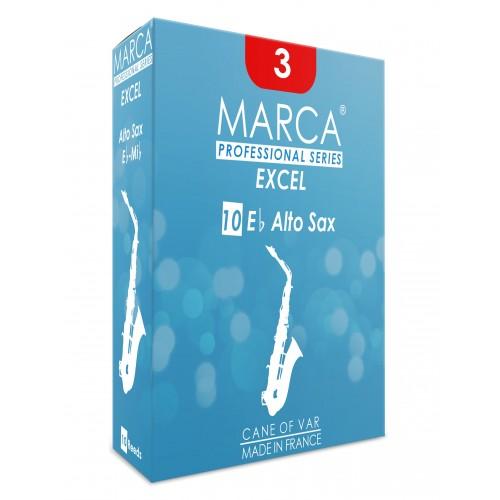 Boîte de 10 anches Marca Excel Saxophone Alto force 1.5