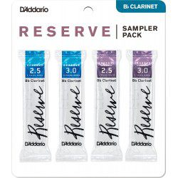 "Anche clarinette Sib / Bb ""Sampler Pack""Rico D'Addario Reserve / Reserve Classic force 2.5/3 X4"