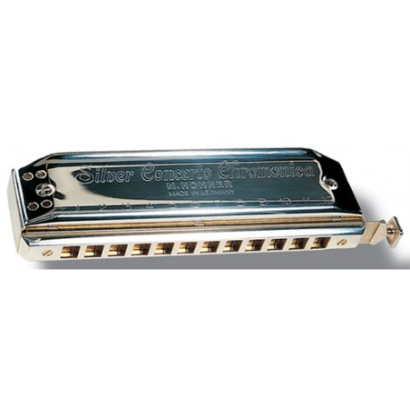 HARMONICA CHROMATIQUE HOHNER CONCERTO ARGENT 12 TROUS C DO