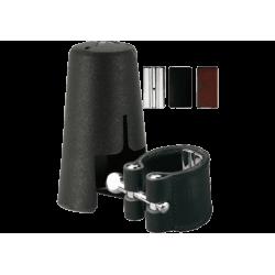 Ligature cuir vandoren clarinette basse et couvre bec plastique