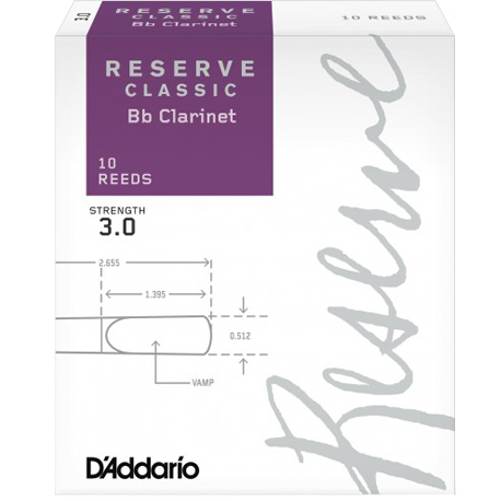 Boîte de 10 anches Rico Réserve Classic Clarinette Sib/Bb force 3